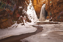Rainbow Falls (Graffiti Falls) - Manitou Springs, Colorado (Lightvision []) Tags: bridge winter usa snow color art fall ice nature water beautiful rock wall america creek canon season landscape outdoors graffiti spring rainbow colorado long exposure paint natural destruction landmark denver canyon crack filter nd vandalism coloradosprings co environment 1740mm manitou lightvision willshieh