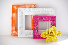 stella collection (amye123) Tags: pink orange white flower home rose yellow wall vintage frames colorful bright handmade cheerful ornate decor eclectic pictureframe reclaimed upcycle