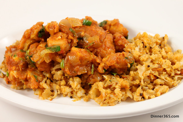 Day 20 - Chicken Manchurian on a bed of Cauli Rice
