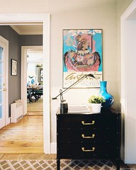 194823-5-04EKB (mscott218) Tags: pink flowers blue wallpaper favorite white black art design interiors designer turquoise interior bamboo hallway entryway kathryn faux boyd chinoiserie eileen radiator interiordesign eclectic tablescape lonny