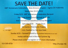 IMG_20161007_114748584_HDR Sigma Chi Save the Date postcard 100th Anniversary Celebration Banquet Sep 23 to 25 2016 (eddie.spaghetti) Tags: 100th 2016 2016sep amesiowa anniversary birthday grandconsul invitation iowa kelseymaggard michaelursillo motorolaxpure motoxpure photobyed postcard savethedate sweetheart event banquet friday