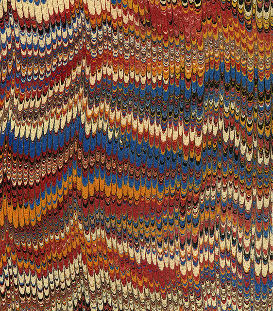 Vintage 19th c. marbled paper, Nonpareil pattern (13)