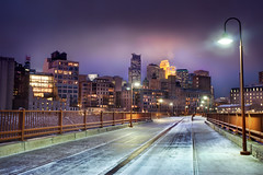 'Viking Purple', United States, Minnesota, Minneapolis, Skyline at Night (WanderingtheWorld (www.LostManProject.com)) Tags: old bridge chris winter snow cold color minnesota stone skyline museum lights midwest glow arch skyscrapers purple cities minneapolis twin nighttime flour mills hue hdr stonearchbridge schoenbohm lostmanproject wwwlostmanprojectcom
