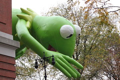 Kermit The Frog at the Macy's Thanksgiving Day Parade in NYC (Hazboy) Tags: thanksgiving new york city nyc usa holiday green apple festival america us big day manhattan balloon muppets parade frog toad macys float muppet kermit hazboy hazboy1