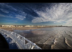 A peer over Blackpool pier, HFF!, Explored (#1)! (Ianmoran1970) Tags: light sky beach fence one pier big surf waves rollercoaster friday fenced blackpool hff explored ianmoran ianmoran1970