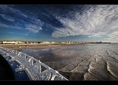 A peer over Blackpool pier, HFF!, Explored (#1)! (Ianmoran1970) Tags: light sky beach fence one pier big surf waves rollercoaster friday fenced blackpool hff explored ianmoran ianmoran1970