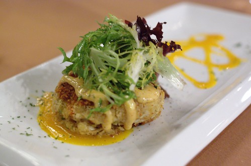 Crab Cake with Honey Chipotle Aioli & Mango Coulis @ LeVilla