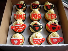 Time for Tea  Corporate Cupcakes (Fantasy Cupcakes Rawtenstall) Tags: teacups teapot teatime blackandred corporatecupcakes