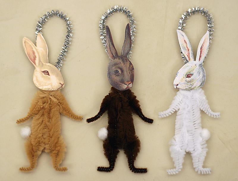 Chenille Bunny Ornaments