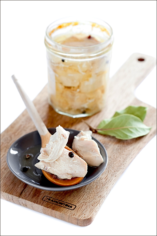 Chicken braised in a glass jar