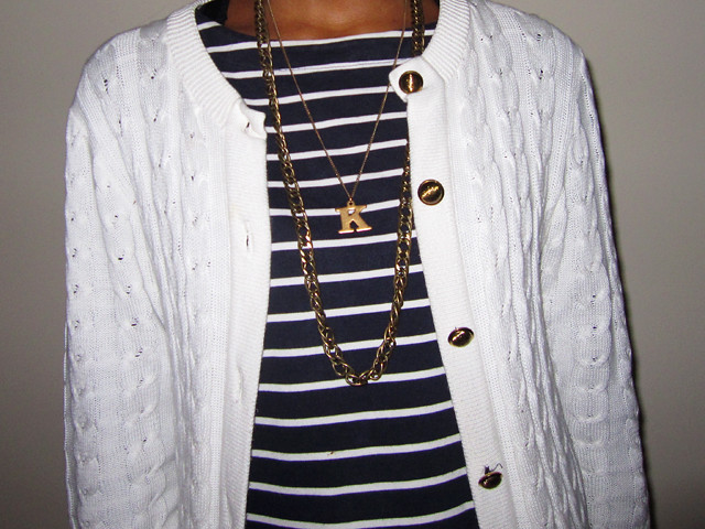 gold necklaces cable vintage cardi