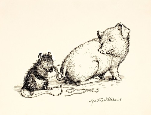 drawing of rat tying string to pig's tail