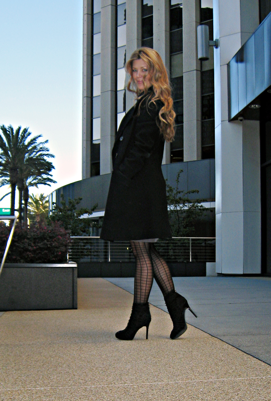 vintage coat and patterned stockings and ankle boots+city+century city+buildings+palms+los angeles+lighter