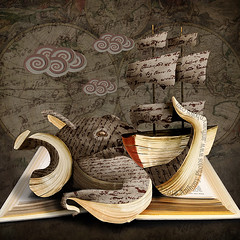 Pop-up Book (scifitographer) Tags: ocean sea monster fairytale photomanipulation photoshop book boat ship sails octopus storybook seamonster giantsquid kraken cs5 bethanthony retroreflectography