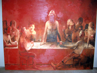 Large red painting of men at dinner referencing The Last Supper