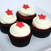 mini red velvet star cupcakes