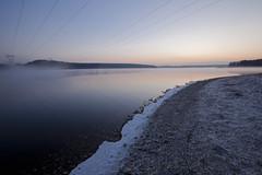 When It All Comes To An End.... (Just Plain Dan) Tags: blue sunrise canon landscape massachusetts theend bluesky powerlines electricity wachusettreservoir boylstonma danieljenkins