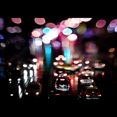107/365 Rush Hour (brandonhuang) Tags: road street city light cars wet car rain night dark circle lens lights focus dof traffic bokeh circles free shift busy rainy rush hour vehicle tilt shifting lensing brandonhuang freelensing