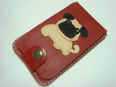 Bobby the Pug iphone leather case ( Red ) (leatherprince) Tags: red dog pets brown cute girl leather women handmade unique pug case gift sleeve iphone iphone4 leatherprince