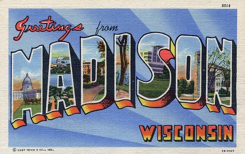 Greetings from Madison, Wisconsin - Large Letter Postcard