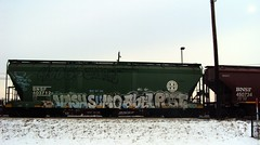 """""""Straight outta Cell Block 4"""" (+PR+) Tags: railroad streetart chicago post trains sumo spraypaint dts abel hooper railfan freight boxcars railcars vash rtl gy rollingstock rxr my benching"""