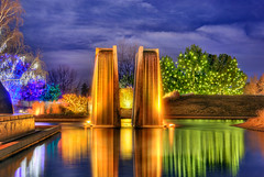 Denver Botanical Gardens - Color Changing Fountain at Night (Mister Joe) Tags: christmas holiday fountain colors lights pond nikon colorado joe denver glowing pillars holidaylights botanicgardens