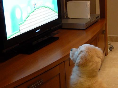 nela mirando la tele