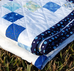 Blue Squares Quilt Binding