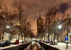 Old Church and Old Canal in Delft, Holland, The beauty of snow (Lennert van den Boom) Tags: christmas snow holland reflection night evening december thenetherlands delft oldchurch oudekerk oudegracht oldcanal aftersunset