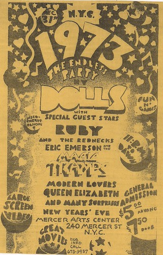 12/31/72 New York Dolls/Ruby & the Rednecks/Magic Tramps/Modern Lovers/Queen Elizabeth with Wayne County @ Mercer Arts Center, NYC, NY