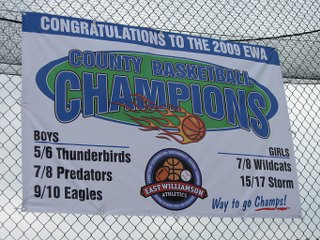 Ballfield fence championship and sponsor vinyl banners 12-Point SignWorks Franklin TN