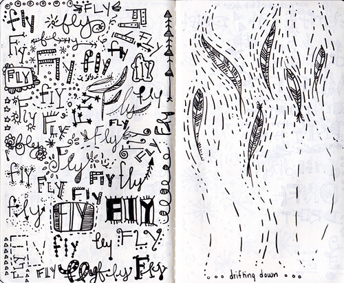 sketchbook project>> fly/feather spread