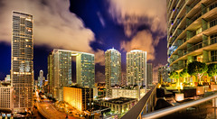 Miami Skyline At Night (Kay Gaensler) Tags: trip summer vacation usa skyline night america geotagged us long exposure time florida cloudy miami sommer united kay roadtrip states amerika hdr 2010 staaten photomatix vereinigtestaaten vereinigte epichotel gnsler gaensler wwwenslerde geo:lat=2577059100 geo:lon=8018959400