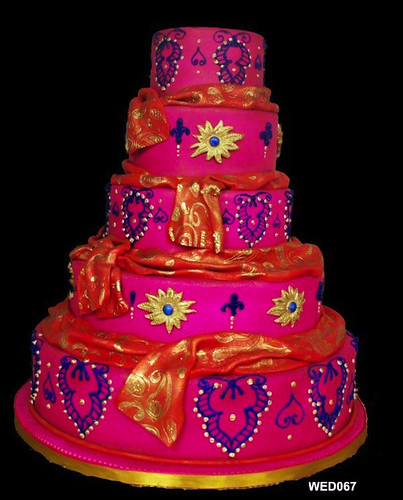 WED067 5 tiered pink indian style wedding cake 67 94