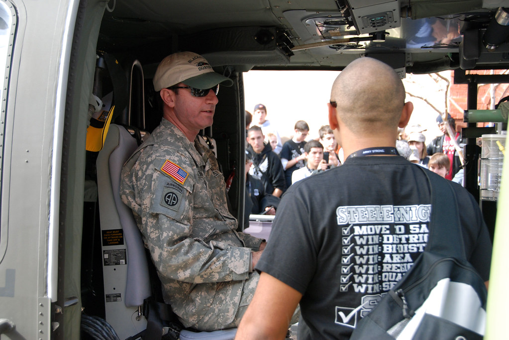 Chief Warrant Officer Dan Youngerman gives a tour of a Blackhawk helicopter