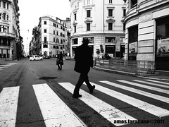 Riusciremo ad attraversare indenni il 2011...o qualcuno ci canceller anche le strisce??? (farnitano.amos) Tags: street city two people blackandwhite bw italy woman man rome roma donna nikon europa europe strada italia gente bn uomo due biancoenero citt stphotographia