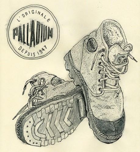 illustration watercolor moleskin palladiumboots