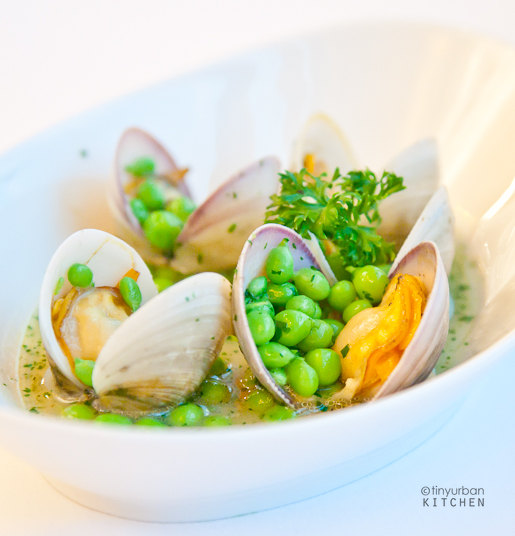 Clams with peas in green sauce