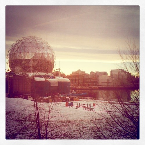 Science World from skytrain on snow day