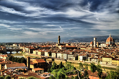 Florence Cityscape (` Toshio ') Tags: city italy mountains building tower history water architecture buildings river florence italian ancient europe italia european cityscape campanile historical firenze uffizi catherdral hdr highdynamicrange europeanunion pontevecchio arnoriver toshio