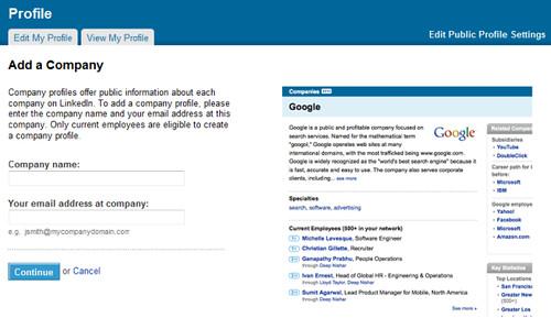 linkedin company add