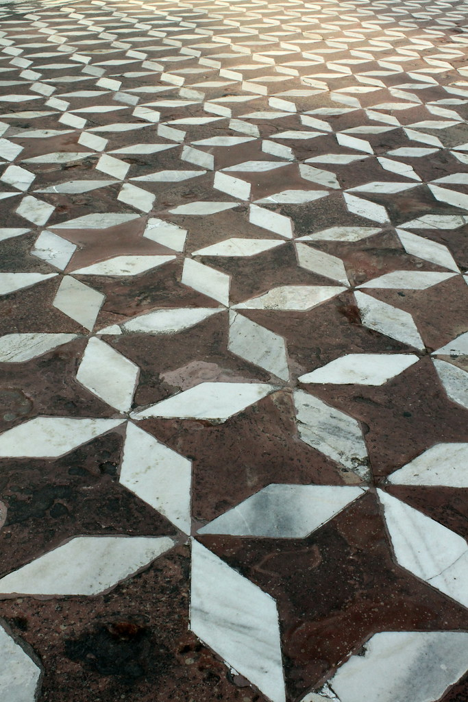 Patterned FLoor Surrounding Taj Mahal