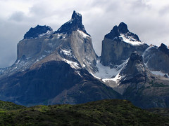 Cuernos Del Paine-Torres Del Paine-Patagonia-Chile (mikemellinger) Tags: chile wild patagonia mountain lake snow southamerica water clouds landscape nationalpark scenery granite torresdelpaine wilderness cuernos massif lagopehoe cuernosdelpaine