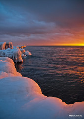 Sunset on Ice.           Explored (Happyhiker4) Tags: sunset lakemichigan iceicebaby iceformations marklindsay youmakemyofficefeellikeaprison