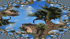 IMG_5750 Dreaming (Rodolfo Frino) Tags: architecture fantasy tree trees palm palmtree sky cloud clouds green blue square bright summer summertime mardelplata argentina travel travelagency vacation holidays hotel provincialhotel window windows roof fractal sunny