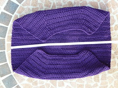 Measuring the width for the lining (crochetbug13) Tags: purple crochet cascade220 fatbag samantasfatbag