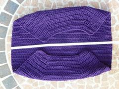 Measuring the width for the lining (crochetbug13) Tags: purple crochet cascade220 fatbag samantasfatbag
