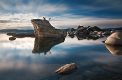Zen and the Art of Wasting Time - Bonsai Rock, Lake Tahoe, Nevada (kendra just is) Tags: longexposure blue lake water clouds landscape gold time nevada tripod lee northern gitzo singhray hoya9stop tokina1116mm lbcolorcombo solidnd kendrakarr