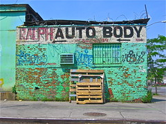Ralph Auto Body (Wires In The Walls) Tags: nyc newyork graffiti tag business barbedwire ghostsign huntspoint woodenpalette ralphautobody