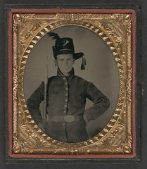 [Unidentified young soldier in Union uniform and Hardee hat with bayoneted musket] (LOC) (The Library of Congress) Tags: usa infantry soldier unitedstatesofamerica union civilwar tintype libraryofcongress yankee yankees thenorth theunion bayonet musket americancivilwar warbetweenthestates hardee uscivilwar hardeehat thecivilwar xmlns:dc=httppurlorgdcelements11 dc:identifier=httphdllocgovlocpnpppmsca26853